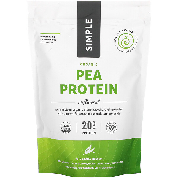 Sprout Living, Simple, Organic Pea Protein, Unflavored, 1 lb (454 g)