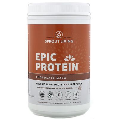 Купить Sprout Living Epic Protein, органический растительный протеин и суперфуды, шоколад и мака, 910г (2фунта)