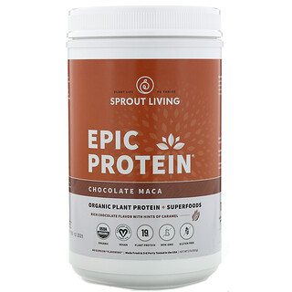 Sprout Living, Epic Protein, Organic Plant Protein + Superfoods, Chocolate Maca, 2 lb (910 g)