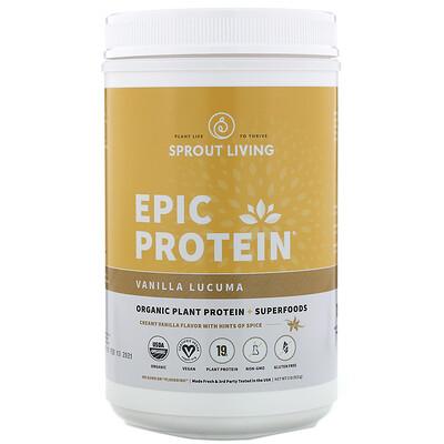 Купить Sprout Living Epic Protein, органический растительный протеин и суперфуды, ваниль и лукума, 910г (2фунта)