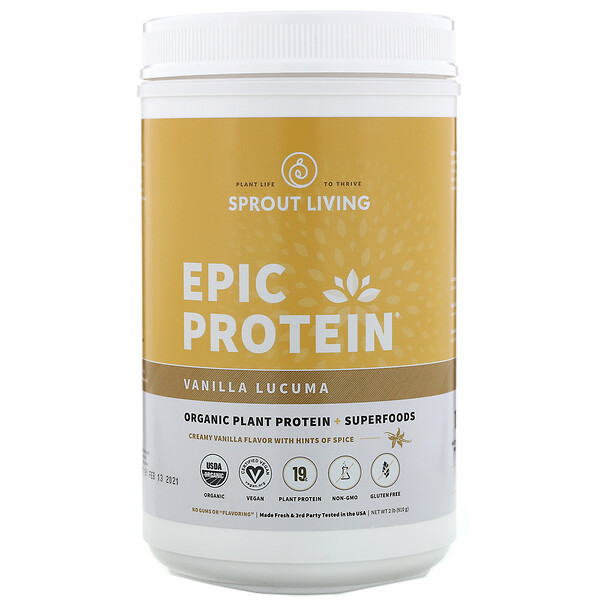 Sprout Living, Epic Protein, Proteína vegetal orgánica y superalimentos, Vainilla y lúcuma, 910 g (2 lb)