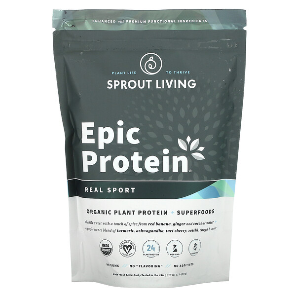 Epic Protein, Organic Plant Protein + Superfoods, Real Sport, 1.1 lb (494 g)