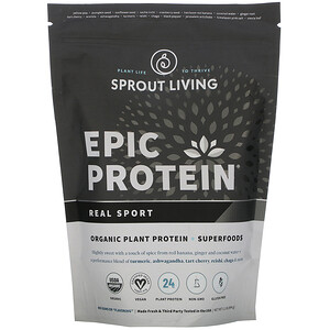 Sprout Living, Epic 蛋白,有機植物蛋白 + 超級食物,Real Sport,1.1 磅(494 克)