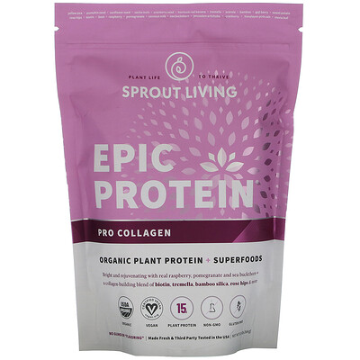Купить Sprout Living Epic Protein, Organic Plant Protein + Superfoods, Pro Collagen, 0.8 lb (364 g)