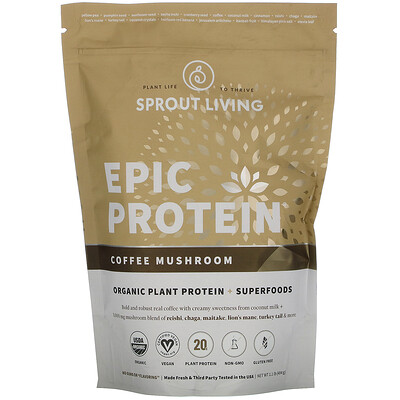 Купить Sprout Living Epic Protein, Organic Plant Protein + Superfoods, Coffee Mushroom, 1.1 lb (494 g)