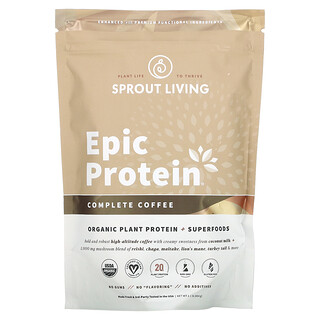 Sprout Living, Epic Protein, Organic Plant Protein + Superfoods, Complete Coffee, 1.1 lb (494 g)