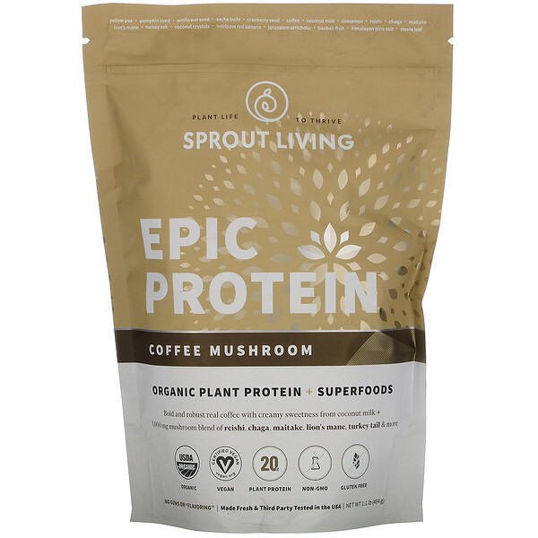 Epic Protein, Organic Plant Protein + Superfoods, Coffee Mushroom, 1.1 lb (494 g)
