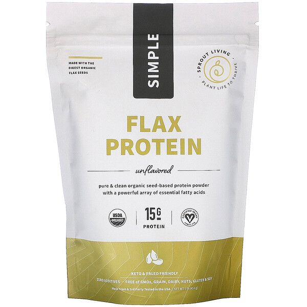 Sprout Living, Simple Flax Protein, Unflavored, 1 lb (454 g)