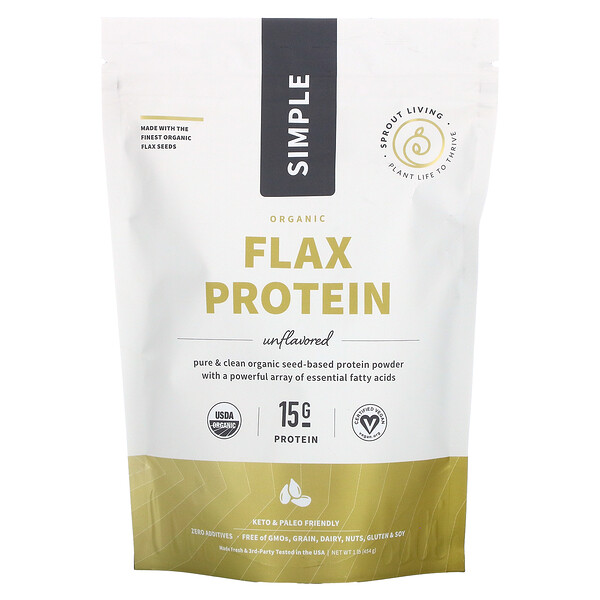Simple Organic Flax Protein, Unflavored, 1 lb (454 g)