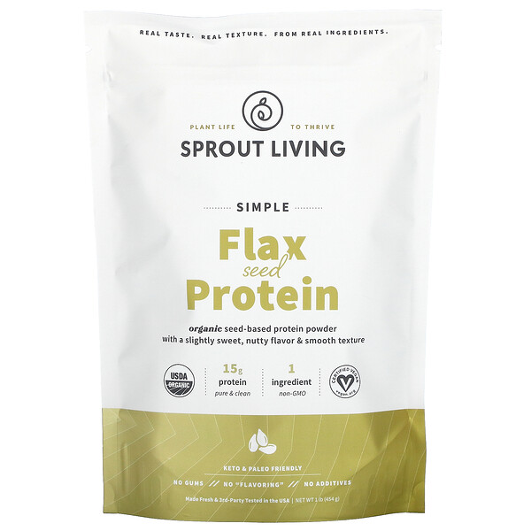 Simple Flax Seed Protein, Unflavored, 1 lb (454 g)