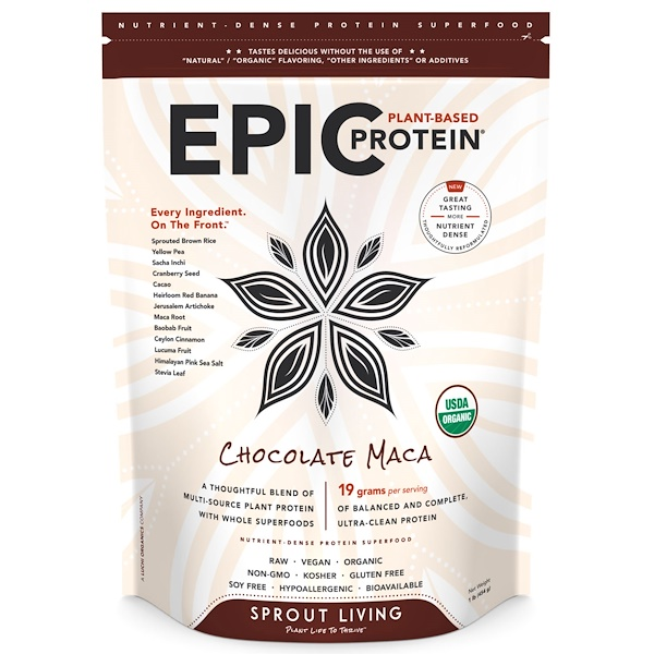 Sprout Living, Epic Protein, Chocolate Maca, 1 lb (454 g) (Discontinued Item)
