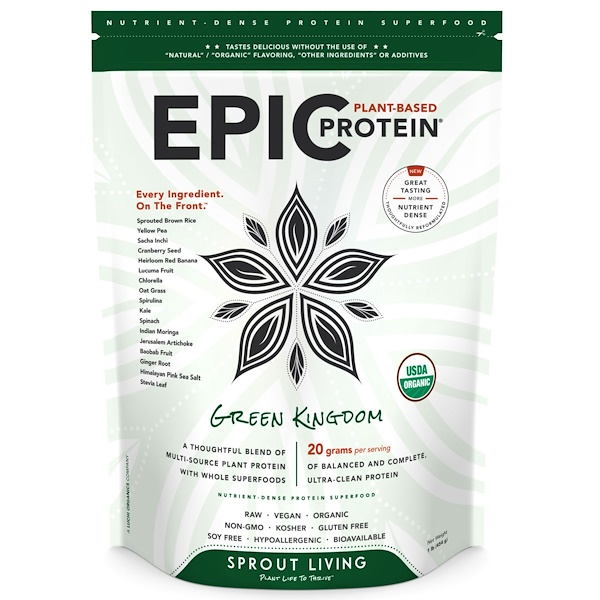 Sprout Living, Epic Protein, Green Kingdom, 1 lb (454 g) (Discontinued Item)