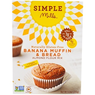 Simple Mills, Naturally Gluten-Free, Almond Flour Mix, Banana Muffin & Bread, 9 oz (255 g)
