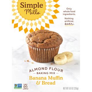 Simple Mills, Naturally Gluten-Free, Almond Flour Mix, Banana Muffin & Bread, 9 oz (255 g)