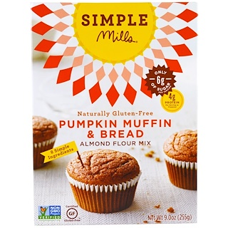 Simple Mills, Naturally Gluten-Free, Almond Flour Mix, Pumpkin Muffin & Bread, 9.0 oz (255 g)