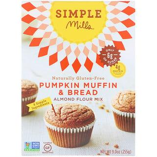 Simple Mills, Naturalmente sin gluten, mezcla de harina de almendras, pan y panecillo de calabaza, 9.0 oz (255 g)