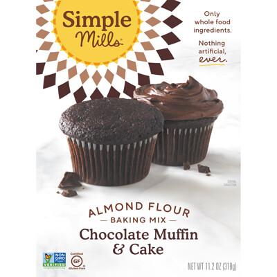 Купить Simple Mills Натуральная смесь миндальной муки без глютена, шоколадный кекс и торт, 10, 4 унции (295 г)