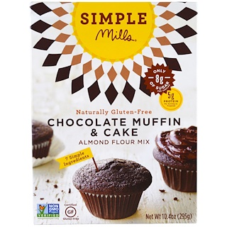 Simple Mills, 天然グルテンフリー, アーモンド粉ミックス, チョコレートマフィン & ケーキ, 10.4 oz (295 g)