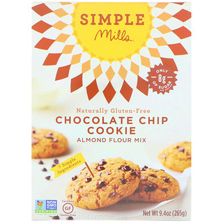 Simple Mills, Naturally Gluten-Free, Chocolate Chip Cookie Almond Flour Mix, 9.4 oz (265 g)