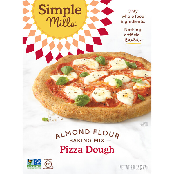 Simple Mills, Naturally Gluten-Free, Almond Flour Mix, Pizza Dough, 9.8 oz (277 g)