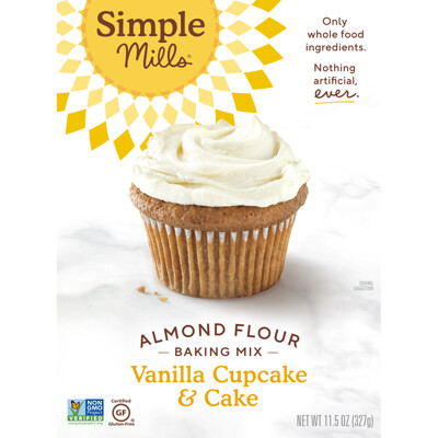 Simple Mills Naturally Gluten-Free, Almond Flour Mix, Vanilla Cupcake & Cake , 11.5 oz (327 g)