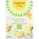 Отзывы о Simple Mills, Не содержит глютен, крекеры из миндальной муки, розмарин и морская соль, 4.25 унции (120 г)