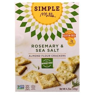 Simple Mills, Naturally Gluten-Free, Almond Flour Crackers, Rosemary & Sea Salt , 4.25 oz (120 g)