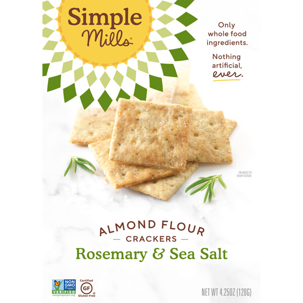 Simple Mills, Naturally Gluten-Free, Almond Flour Crackers, Rosemary & Sea Salt , 4.25 oz (120 g)