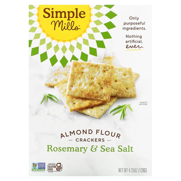 Simple Mills, Almond Flour Crackers, Cracker aus Mandelmehl, Rosmarin und Meersalz, 120g (4,25oz.)