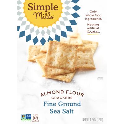 Купить Simple Mills Натуральные, не содержащие глютена крекеры с миндальной мукой и морской солью тонкого помола, 120 г (4, 25 унции)