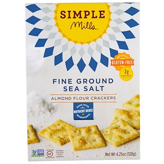 Simple Mills, Naturally Gluten-Free, Almond Flour Crackers, Fine Ground Sea Salt, 4.25 oz (120 g)