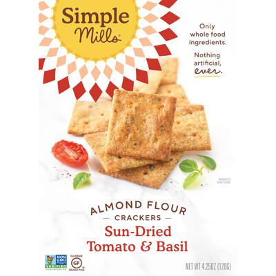 Купить Simple Mills Натуральное отсутствие глютена, мучные крекеры с миндалем, высушенные солнцем помидоры и базилик, 4, 25 унции (120 г)