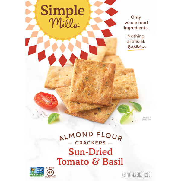 Simple Mills, Naturally Gluten-Free, Almond Flour Crackers, Sun-Dried Tomato & Basil, 4.25 oz (120 g)
