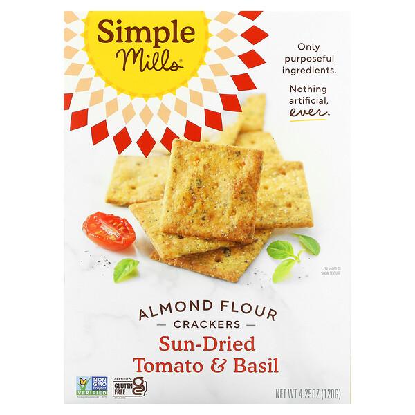 Simple Mills, Natürlich glutenfrei, Mandelmehl-Kräcker, sonnengetrocknete Tomate & Basilikum, 120 g