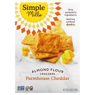Simple Mills, Naturally Gluten-Free, Almond Flour Crackers, Farmhouse Cheddar , 4.25 oz (120 g)