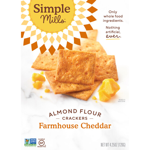 Simple Mills, Naturally Gluten-Free, Almond Flour Crackers, Farmhouse Cheddar , 4.25 oz (120 g)