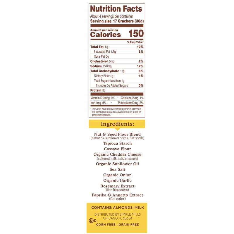 Simple Mills, Naturally Gluten-Free, Almond Flour Crackers, Farmhouse Cheddar , 4.25 oz (120 g) - photo 1