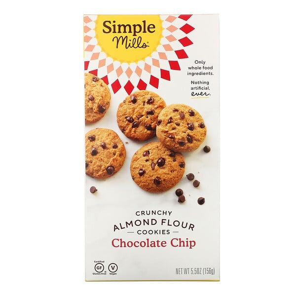Simple Mills, Crunchy Almond Flour Cookies, Chocolate Chip, 5.5 oz (156 g)