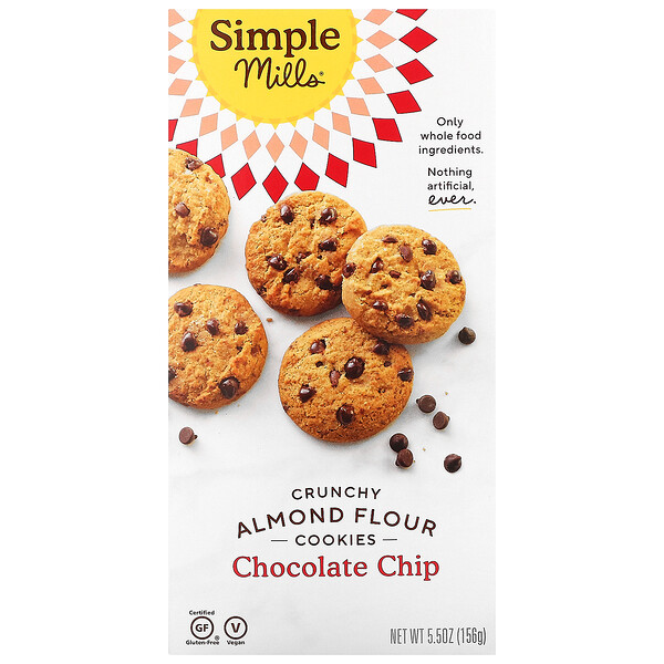 Crunchy Almond Flour Cookies, Chocolate Chip, 5.5 oz (156 g)
