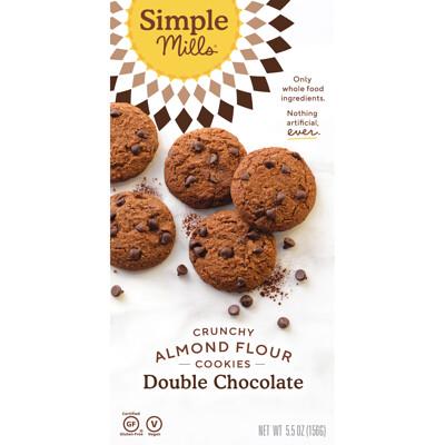 Купить Simple Mills Не содержит глютен, хрустящее печенье, двойной шоколад, 5.5 унций (156 г)