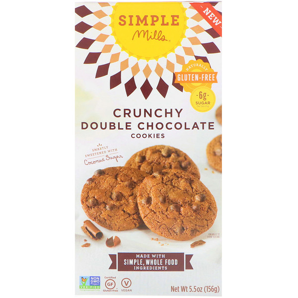 Simple Mills, Naturally Gluten-Free, Crunchy Cookies, Double Chocolate, 5.5 oz (156 g)