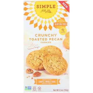 Simple Mills, Naturally Gluten-Free, Crunchy Cookies, Toasted Pecan, 5.5 oz (156 g)