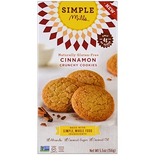 Simple Mills, Naturally Gluten-Free, Crunchy Cookies, Cinnamon, 5.5 oz (156 g)