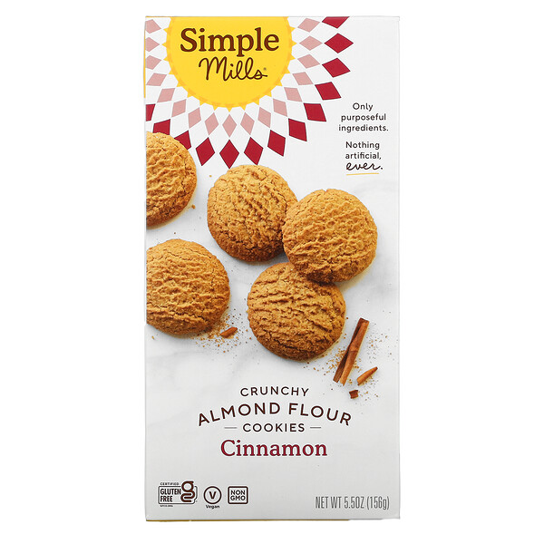 Simple Mills, Crunchy Almond Flour Cookies, Cinnamon, 5.5 oz (156 g)