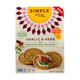 Simple Mills, Sprouted Seed Crackers, Garlic & Herb, 4.25 oz (120 g)