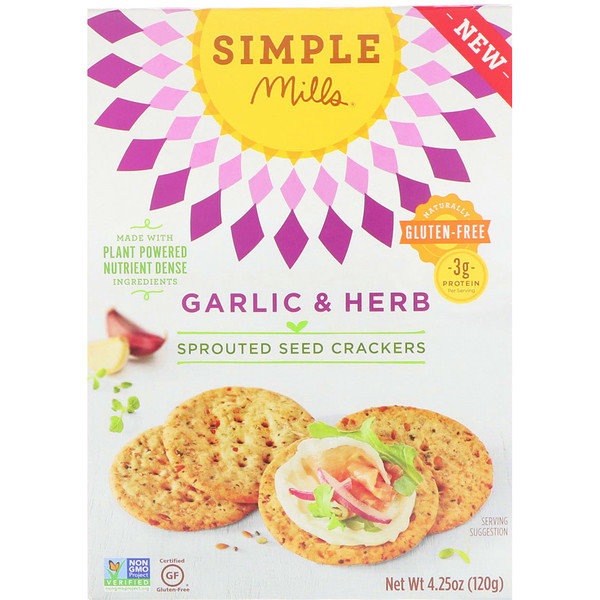 Simple Mills, Sprouted Seed Crackers, Garlic & Herb, 4、25 oz