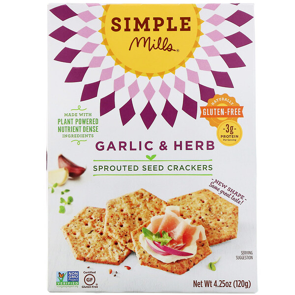Sprouted Seed Crackers, Garlic & Herb, 4.25 oz (120 g)