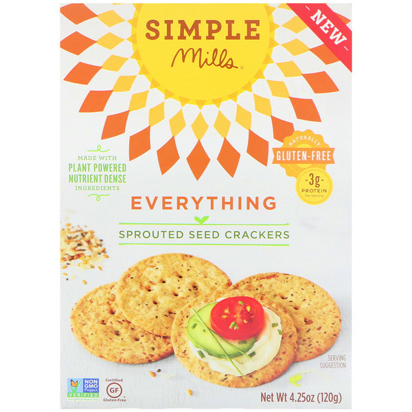 Simple Mills, Sprouted Seed Crackers, Everything, 4、25 oz