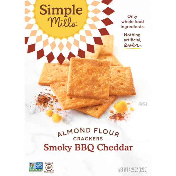 Simple Mills, Naturally Gluten-Free, Almond Flour Crackers, Smoky BBQ Cheddar , 4.25 oz (120 g) (Discontinued Item)