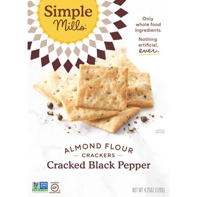 Купить Simple Mills Натуральные крекеры из миндальной муки без глютена, с молотым черным перцем, 120 г (4, 25 унции)